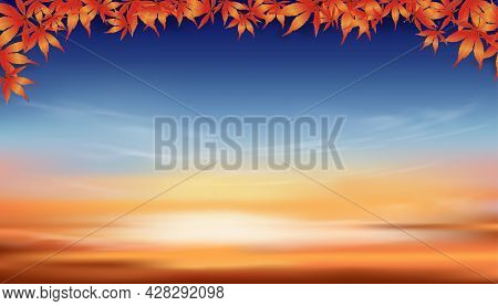 Autumn Background With Red And Orange Maple Leaves Frame On Twilight Dusk Sky In Evening,vector Hori