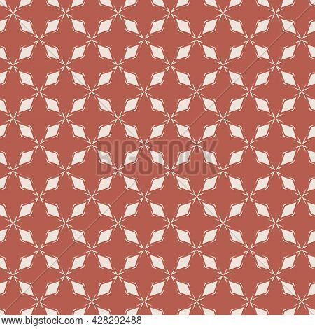 Diamond Grid Ornament. Vector Abstract Red And Beige Seamless Pattern. Simple Geometric Background W