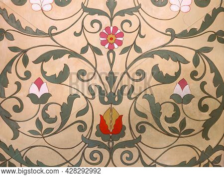 Old Floral Ornamental Frescoed Wall. Close Up Shot