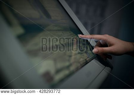 Finger Presses A Button On A Touch Screen, Virtual Guide To The Museum Or Exhibition, Touch Screen I