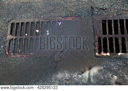 Metal Drain Grates. Storm Drains. Storm Sewers. Close-up.