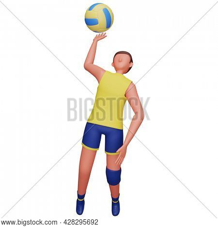3D Illustration Of Male Volleyball Player Hits The Ball On White Background.