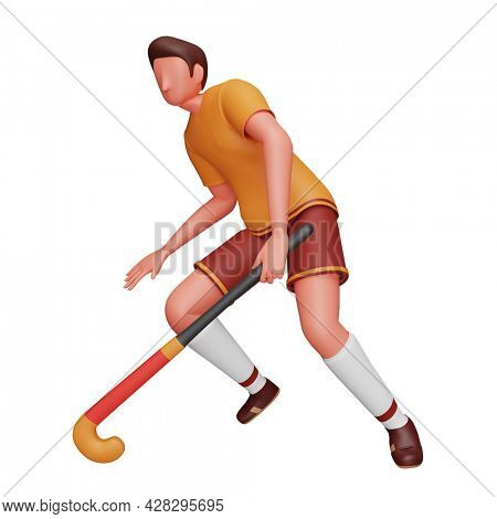 3D Rendering Of Male Hockey Player In Playing Pose On White Background.