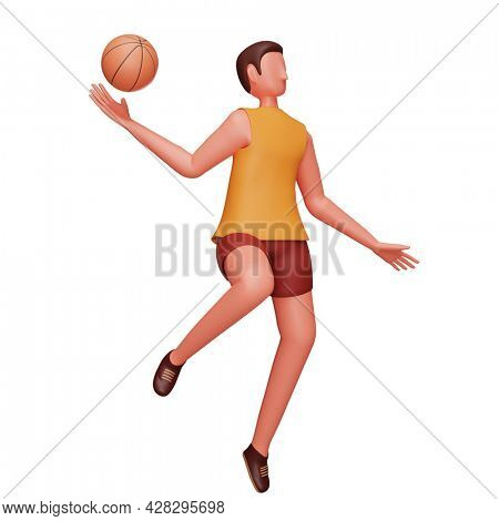 3D Character Of Male Basketball Player In Throwing Pose Over White Background.
