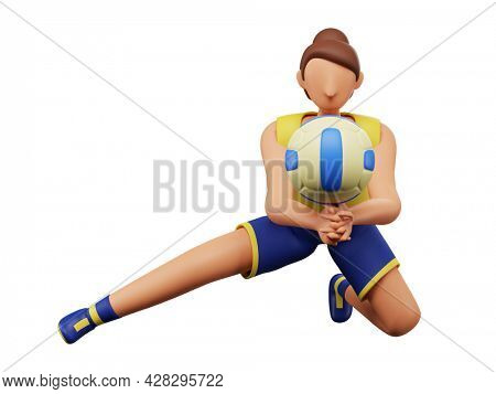 3D Illustration Of Female Volleyball Player Hits The Ball Over White Background.