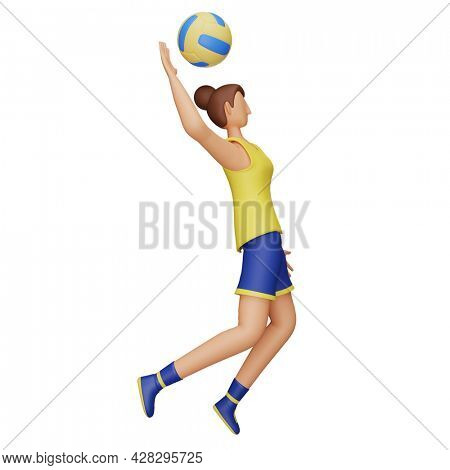 3D Illustration Of Female Athlete Playing Volleyball On White Background.