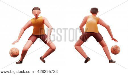 3D Portrait Of Male Basketball Player In Front And Back Side.