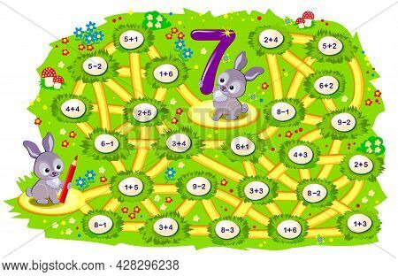 Math Education For Children. Logic Puzzle Game With Maze For Kids. Solve Examples And Help The Rabbi