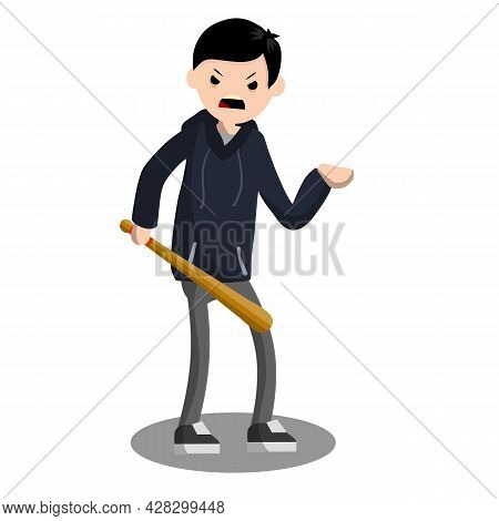 Man With Baseball Bat Is Extorting Money. Problem Of Urban Security. Thief At Work. Extortion And Ro