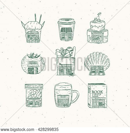 Set Of Set Of Storefront Confectionary, Coffee, Bakery, Vegetable, Book, Asian Food, Pharmacy, Bar,