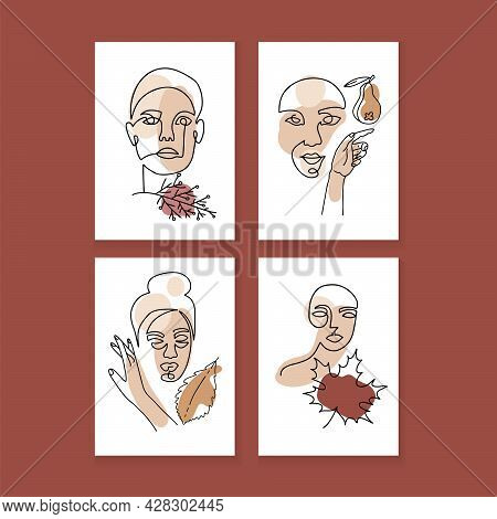 Set Of Portraits Of Women With Autumn Leaves And Abstract Terracotta, Beige And Yellow Shapes. Hand