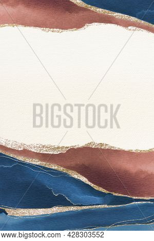 Shimmering blue and brown paint textured background