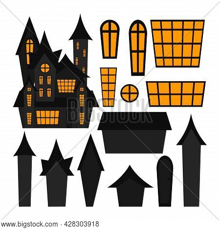 Creepy House Constructor Isolated On White Background. Halloween Haunted House. Vector Flat Illustra