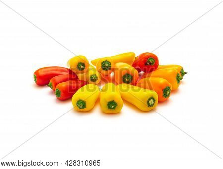 Group Of Colorful Red, Yellow And Orange Mini Sweet Peppers Snack Isolate On White