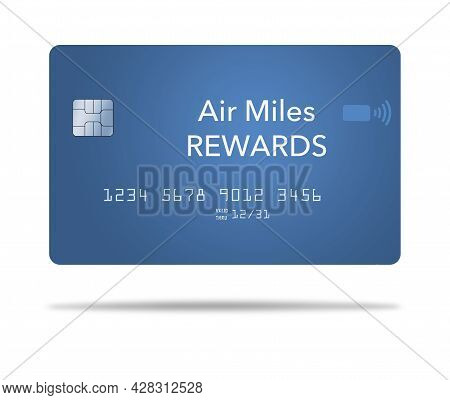 Air Miles Reward Credit Card. This Is A 3-d Illustration Of A Generic Air Travel Credit Card.