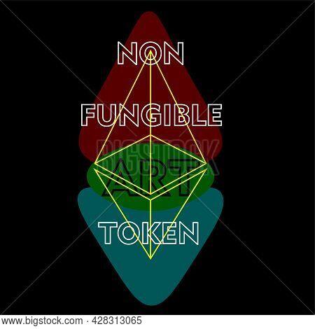 Ethereum-based Non-fungible Art Token Logo On Dark Background