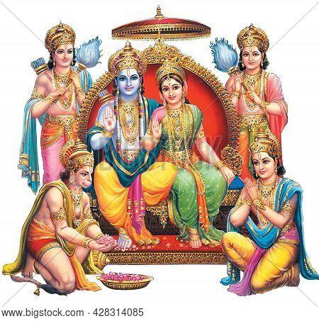Indian God Rama With Sita And Hanuman