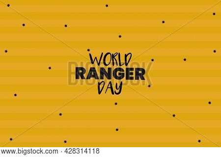 World Ranger Day Black Typography Text On Isolated Yellow Background.