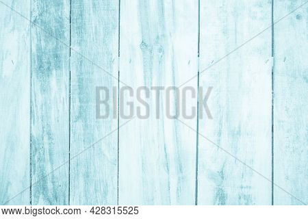 Old Grunge Wood Plank Texture Background. Vintage Blue Wooden Board Wall Have Antique Cracking Style