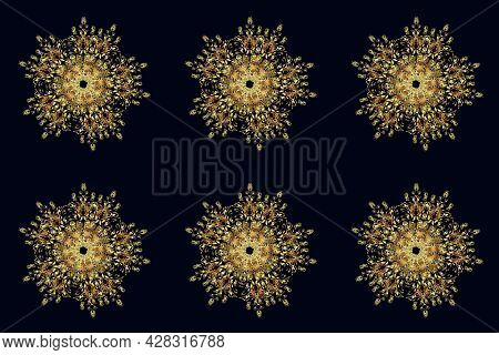 Decoration Winter Snow Icons. Snowflakes Raster Illustration. Raster Christmas Abstract Colorful Bac