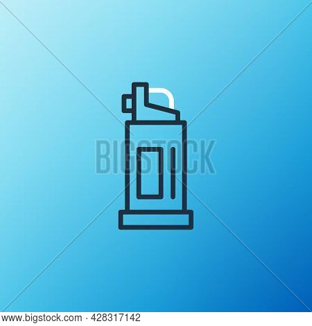 Line Pepper Spray Icon Isolated On Blue Background. Oc Gas. Capsicum Self Defense Aerosol. Colorful