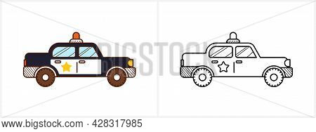 Police Car Coloring Page. Police Car Side View