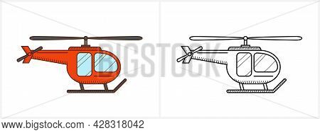 Helicopter Aircraft Icon Coloring Page Side View