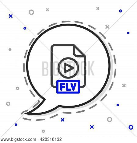 Line Flv File Document Video File Format. Download Flv Button Icon Isolated On White Background. Flv