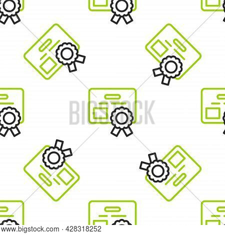 Line Certificate Template Icon Isolated Seamless Pattern On White Background. Achievement, Award, De