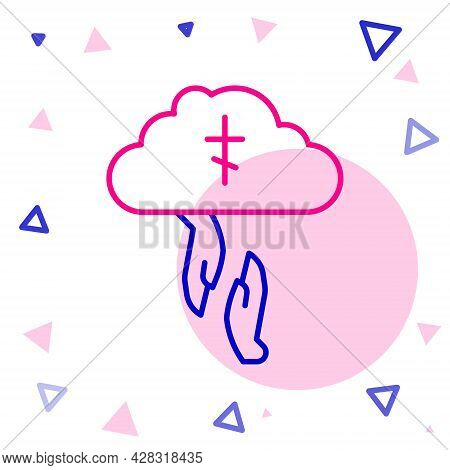 Line Gods Helping Hand Icon Isolated On White Background. Religion, Bible, Christianity Concept. Div