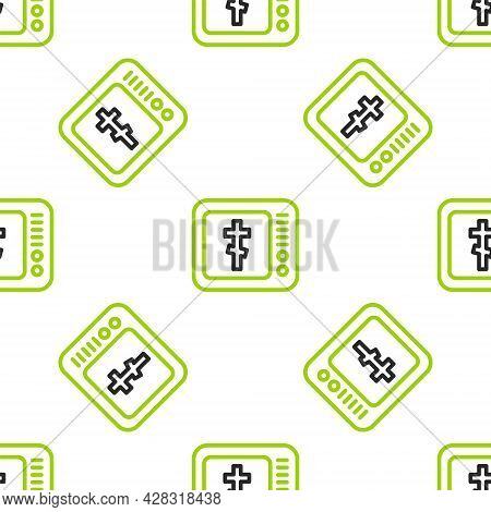 Line Online Church Pastor Preaching Video Streaming Icon Isolated Seamless Pattern On White Backgrou