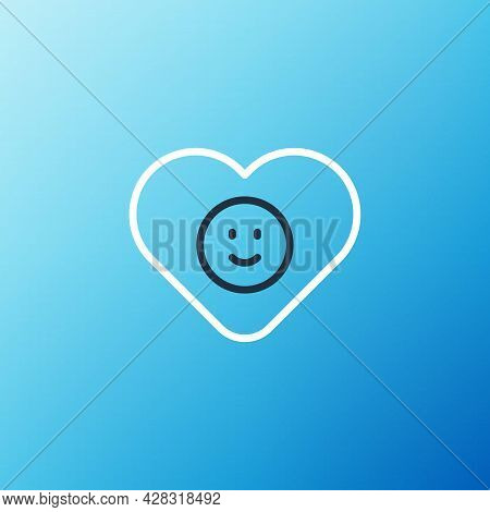 Line Good Relationship Icon Isolated On Blue Background. Romantic Relationship Or Pleasant Meeting C
