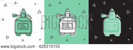 Set Garden Sprayer For Water, Fertilizer, Chemicals Icon Isolated On White And Green, Black Backgrou