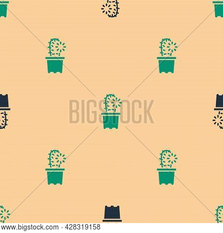Green And Black Cactus Peyote In Pot Icon Isolated Seamless Pattern On Beige Background. Plant Growi