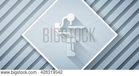 Paper Cut Gimbal Stabilizer For Camera Icon Isolated On Grey Background. Paper Art Style. Vector