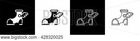 Set Hermes Sandal Icon Isolated On Black And White Background. Ancient Greek God Hermes. Running Sho