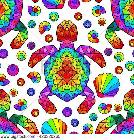 Seamless Pattern With Bright Geometric Turtles And Seashells, Colored Animals On A White Background
