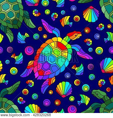 Seamless Pattern With Bright Geometric Turtles And Seashells, Colored Animals On A Blue Background