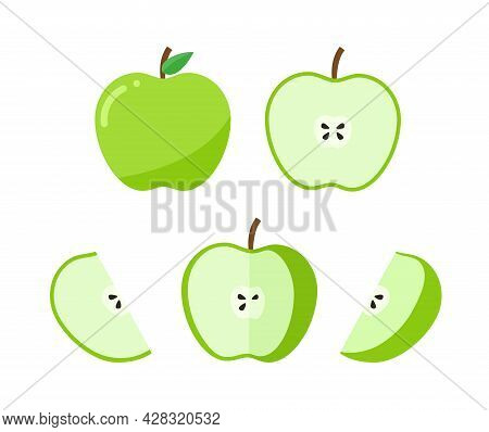 Set Of Green Apple Whole And Ripe. Apple Half And Piece. Vector Illustration Apple In Flat Style.