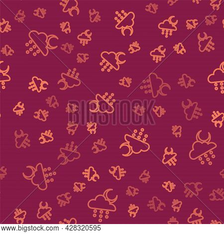 Brown Line Cloud With Rain And Moon Icon Isolated Seamless Pattern On Red Background. Rain Cloud Pre