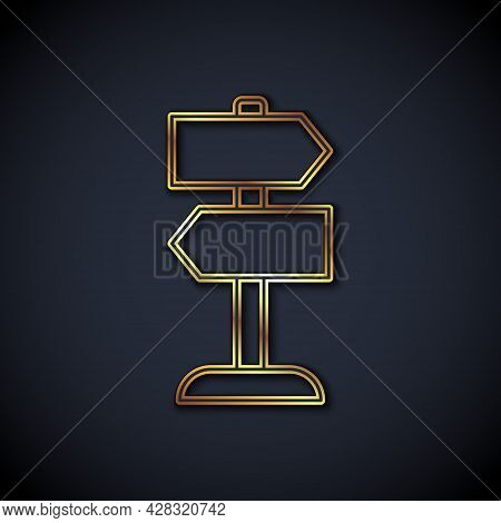 Gold Line Road Traffic Sign. Signpost Icon Isolated On Black Background. Pointer Symbol. Isolated St
