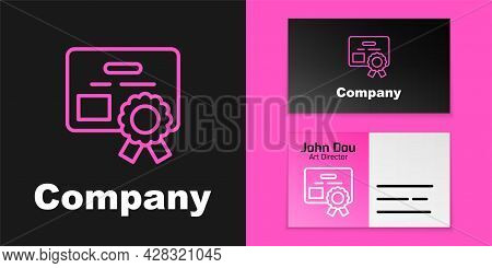 Pink Line Certificate Template Icon Isolated On Black Background. Achievement, Award, Degree, Grant,