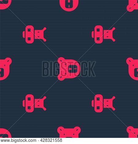 Set Hippo Or Hippopotamus And Bear Head On Seamless Pattern. Vector