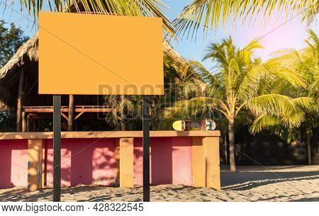 Blank Sign Space On The Beach, Blank Sign Space On The Beach, Blank For Beach Advertising