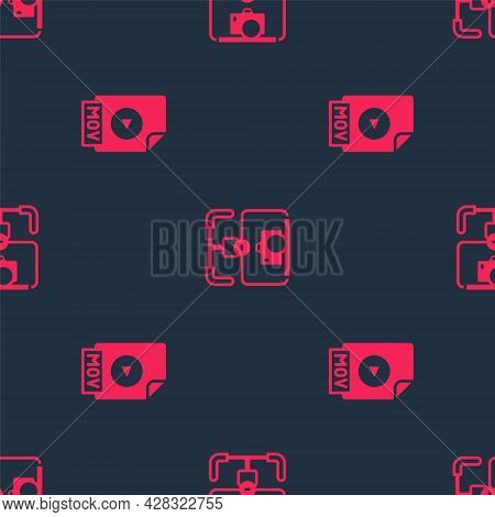Set Mov File Document And Gimbal Stabilizer With Camera On Seamless Pattern. Vector