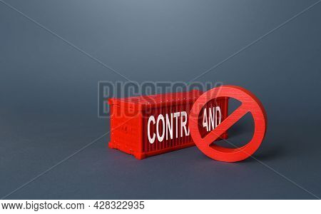 Red Cargo Ship Container With The Word Contraband. Fight Against Drug Trafficking, Counterfeiting An