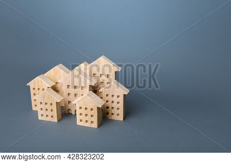 Many Wooden High-rise Buildings. Many Houses. Affordable Housing. Urban Studies And Science. Good Mo