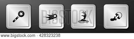Set Magic Wand, Fireball, Zombie Hand And Psilocybin Mushroom Icon. Silver Square Button. Vector