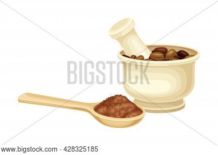 Mortar And Pestle With Ground Seeds Of Theobroma Cacao As Aromatic Chocolate Ingredient Vector Illus