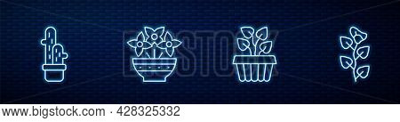 Set Line Indoor Plant Ivy In A Pot, Cactus Peyote, Flower Vase And Ivy Branch. Glowing Neon Icon On